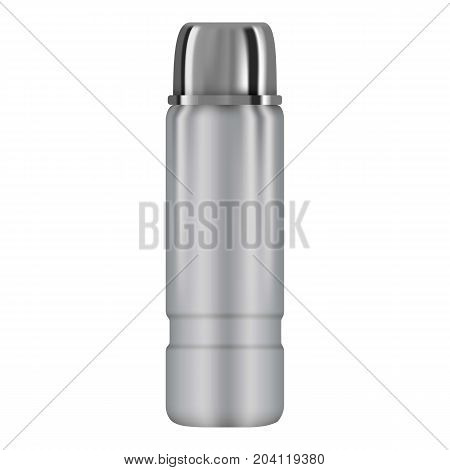 Vacuum thermo flask mockup. Realistic illustration of vacuum thermo flask vector mockup for web design isolated on white background