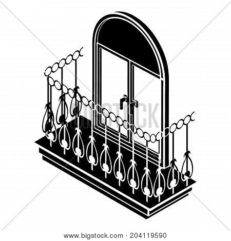Metal balcony icon. Simple illustration of metal balcony vector icon for web design isolated on white background