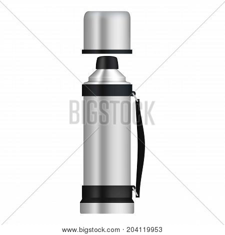 Thermos with flask mockup. Realistic illustration of thermos with flask vector mockup for web design isolated on white background