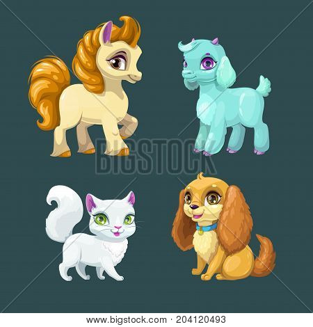 Little cute pet girls. Vector cartoon animals set. Horse, goat, cat and dog icons.