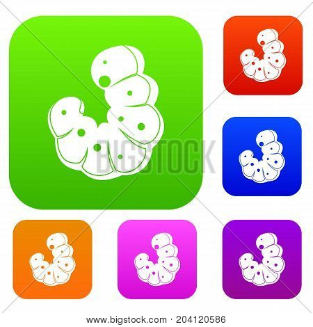 Worm set icon color in flat style isolated on white. Collection sings vector illustration