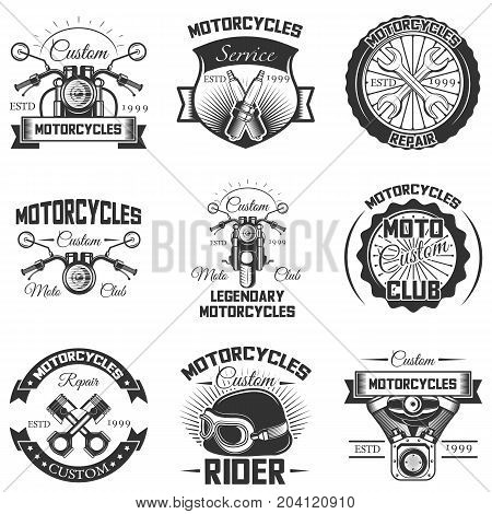 Vector set of vintage motorcycle logos, emblems, badges, symbols, icons isolated on white background. Typography design for motorcycle service, moto club and print.