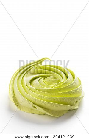 One Meringue Swir Green Color Isolated On White