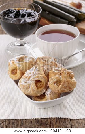 Apricot Danish pastries and cup of tea