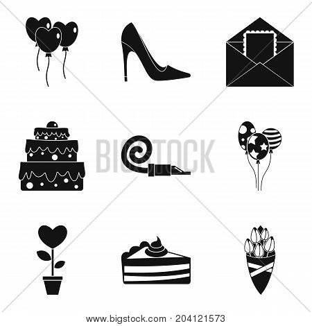 Romantic time icons set. Simple set of 9 romantic time vector icons for web isolated on white background