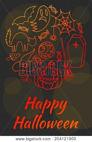 Sketchy Vector Hand Drawn Doodle Cartoon Set Of Objects And Symbols On The Halloween For Poster Or G