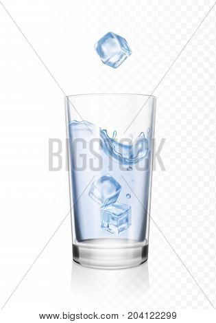 Glass of water with ice cubes realistic illustration. Transparent cup