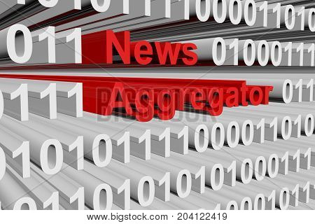 News aggregator in the form of binary code, 3D illustration