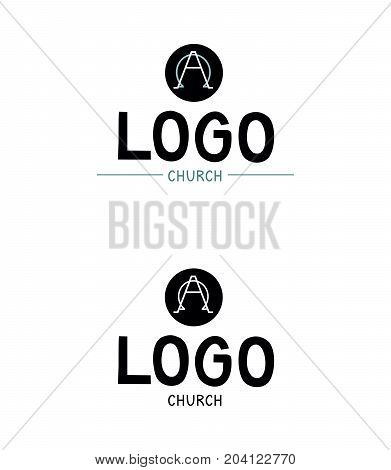 Church logo with the alpha and omega in a circle. Biblical background. Christian icon