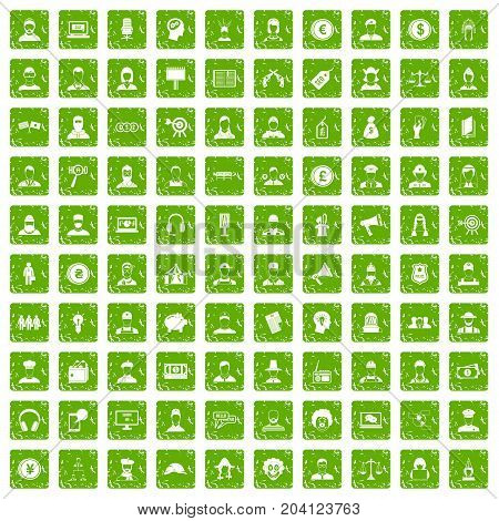 100 headhunter icons set in grunge style green color isolated on white background vector illustration