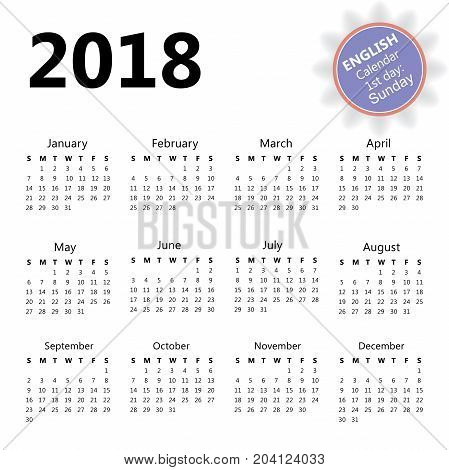 2018 wall calendar in English with first day of the week Sunday