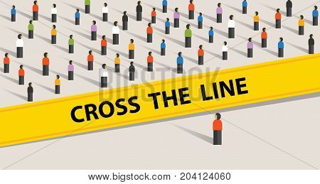 cross the line limit of social control group of society limit border standing ask to stop never do taboo vector