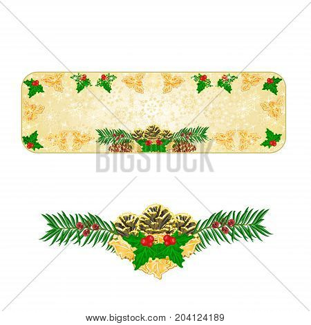 Banner Christmas decoration snowflakes with pinecones holly and yew vintage vector illustration editable hand draw