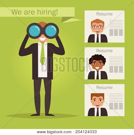 Manager with binoculars looking for employees. Vector. Cartoon character. Isolated. Flat