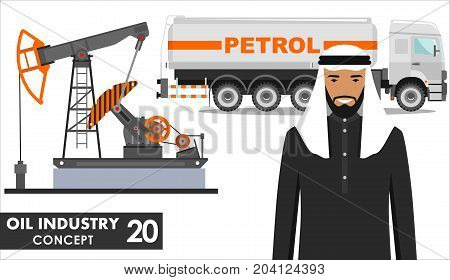 Detailed illustration of gasoline truck, oil pump and arab muslim business people in flat style on white background.