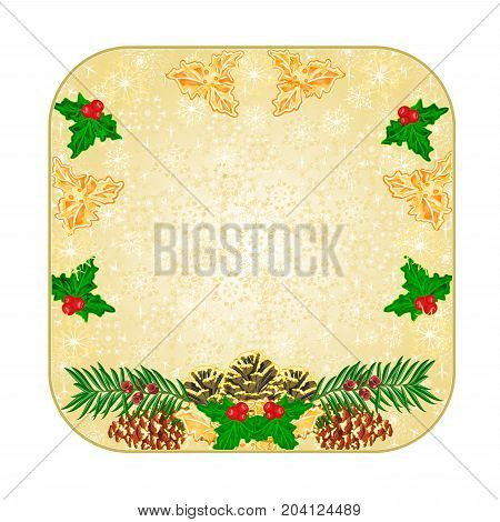 Button square Christmas decoration snowflakes with pinecones holly and yew vintage vector illustration editable hand draw