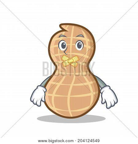 Silent peanut character cartoon style vector illustration