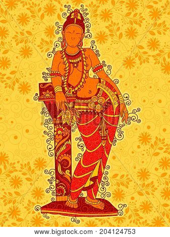 Vector design of Vintage statue of Indian female sculpture in floral art style