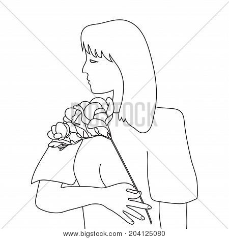 Woman torso and Freesia flower line art
