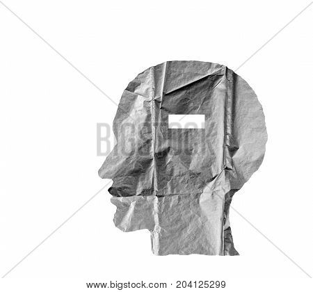 Crumpled paper shaped as a human head and minus sign on white background. Negative and minus sign concept.