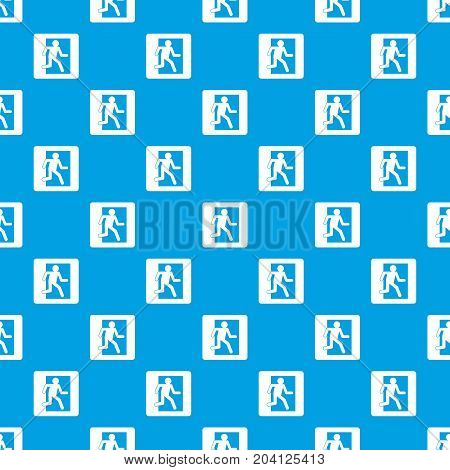 Fire exit sign pattern repeat seamless in blue color for any design. Vector geometric illustration