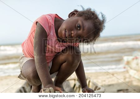 March 11 2015 Sambo Creek Honduras: a young garifuna girl part of the fishing community on the carribbean coast of the country