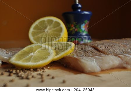 Fillet of fish. Dish main dish. Fasting food seasoning