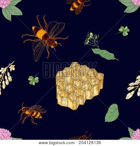 Elegant colorful seamless pattern with hand drawn bees, honeycomb, linden leaves and blooming meadow flowers on dark background. Natural vector illustration for textile print, wallpaper