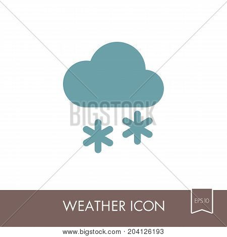 Cloud with Snow outline icon. Meteorology. Weather. Vector illustration eps 10