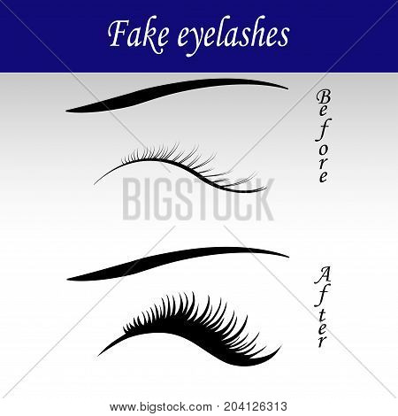 False eyelashes vector sketch icon isolated on background.