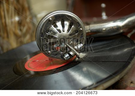retro old gramophone for playing musi , close up