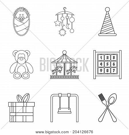 Street celebration icons set. Outline set of 9 street celebration vector icons for web isolated on white background