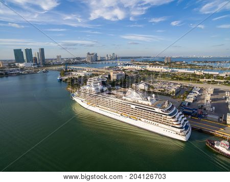 MIAMI, FLORIDA - 29 JAN 2017: Cruise the liner is moored in Miami port. Aerial view.