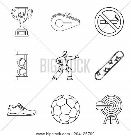 Strongest athlete icons set. Outline set of 9 strongest athlete vector icons for web isolated on white background