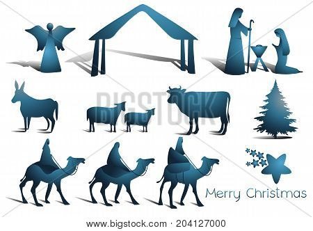 Nativity scene with Holy Family - vector illustration