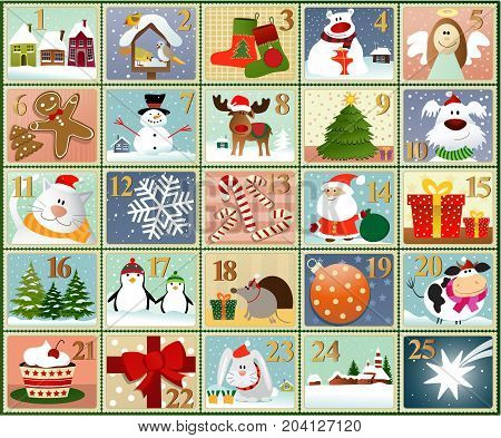 Advent calendar - set of winter drawings