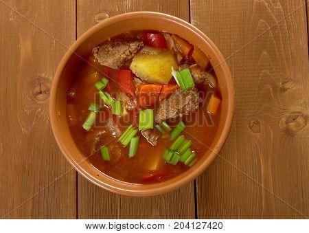 Traditional Bulgarian soup chorba.shurpa soup  close up