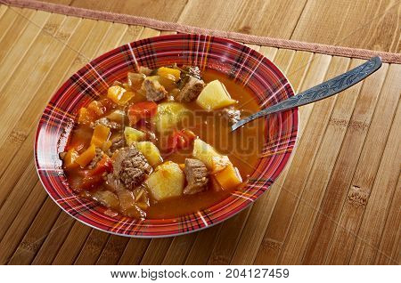 Traditional Bulgarian soup chorba.  shurpa soup close up