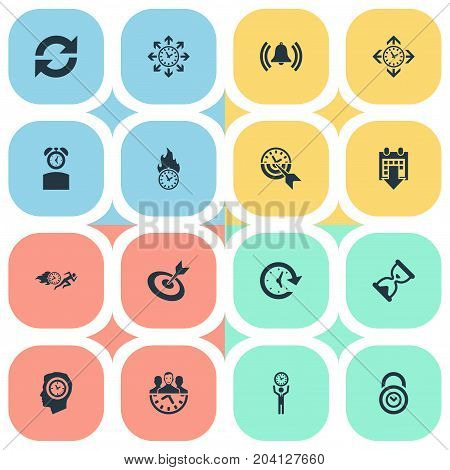 Elements Limits, Goal, Velocity And Other Synonyms Management, Refresh And Limits.  Vector Illustration Set Of Simple Management Icons.