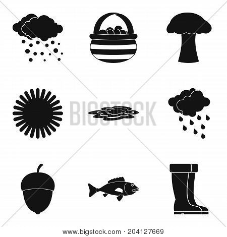 Autumn rain clouds icon set. Simple set of 9 autumn rain clouds vector icons for web design isolated on white background