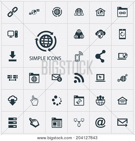 Elements Communication, Group, Worldwide And Other Synonyms Redirect, Social And Mouse.  Vector Illustration Set Of Simple Browser Icons.