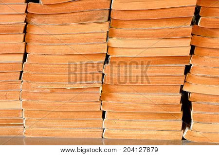 stack of old book in bookstore secondhand book sale in book fair