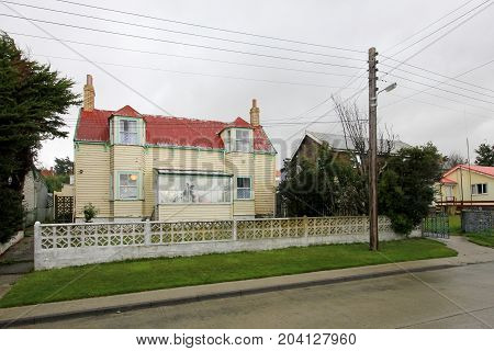 Typical british town houses in Port Stanley, Falkland Islands, Islas Malvinas