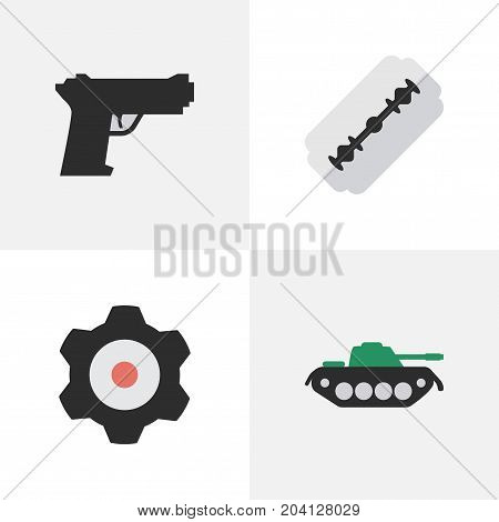 Elements Cogwheel, Blade, Military And Other Synonyms Tank, Gear And Mechanical.  Vector Illustration Set Of Simple Crime Icons.