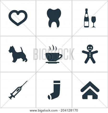 Elements Hosiery, Love, Puppy And Other Synonyms House, Love And Vaccine.  Vector Illustration Set Of Simple Colony Icons.