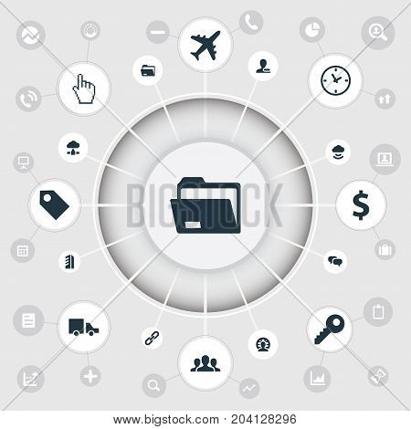 Elements Money, Group, Chatting And Other Synonyms Delivery, Airplane And Business.  Vector Illustration Set Of Simple Business Icons.