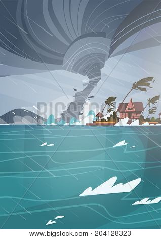 Twister Tornado Incoming From Sea Hurricane In Ocean Huge Waves On Houses On Coast Tropical Natural Disaster Concept Flat Vector Illustration
