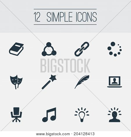 Elements Armchair, Encyclopedia, Wizard Stick And Other Synonyms Book, Loading And Literature.  Vector Illustration Set Of Simple Design Icons.