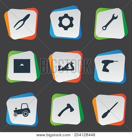 Elements Hatchet, Drill, Agriculture Transport And Other Synonyms Cogwheel, Tractor And Drill.  Vector Illustration Set Of Simple Architecture Icons.