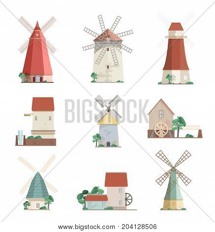 Set of colorful windmills and watermills of different types - smock, tower, post mills isolated on white background. Agricultural buildings with rotating sails. Vector illustration in flat style
